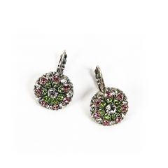Greenbrier Exclusive Mariana Crystal Earrings- green & pink