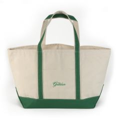 Greenbrier Logo Canvas Boat Tote - Large - White & Emerald Green
