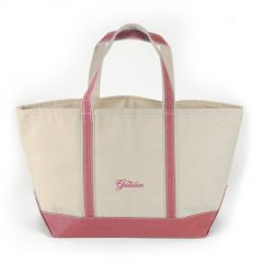 Greenbrier Logo Canvas Boat Tote - Large - White & Coral