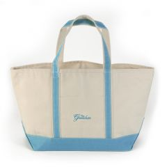 Greenbrier Logo Canvas Boat Tote - Large - White & Baby Blue