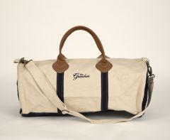 Greenbrier Logo Round Duffle Bag- White/Navy