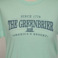 Greenbrier Logo Screen Print Tee Shirt- Mint