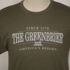 Greenbrier Logo Screen Print Tee Shirt- Military Green