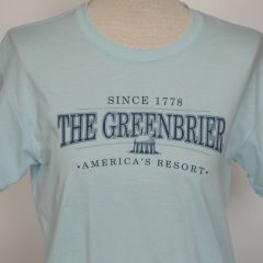 Greenbrier Logo Screen Print Tee Shirt- Ice Blue