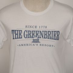 Greenbrier Logo Screen Print Tee Shirt- White