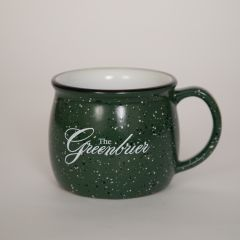 The Greenbrier Logo Speckled Colonial Mug - Green