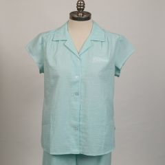 The Greenbrier Logo Seersucker Stripe Capri Pajama Set- Mint/White