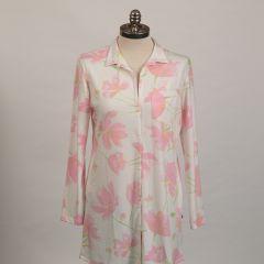 "The Greenbrier ""G"" Logo Emma Rose Print Pima Knit Night Shirt- White/Pink"