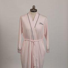 The Greenbrier Logo Pima Knit Kimono Robe- Pink