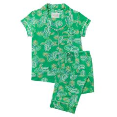 "The Greenbrier ""G"" Logo Paisley Pima Knit Capri Pajama Set- Green"