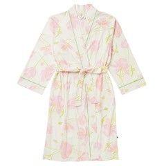The Greenbrier Logo Emma Rose Pima Knit Kimono Robe-  White/Pink