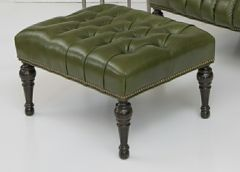 Greenbrier Tufted Leather Ottoman (Quote)