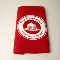 The Greenbrier America's Resort Sweatshirt Blanket- Red