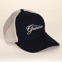 Greenbrier Logo Lightweight Cotton with Mesh Cap- Navy/White