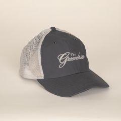 Greenbrier Logo Lightweight Cotton with Mesh Cap- Grey/White
