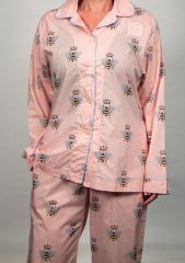The Greenbrier Luxe Pima Cotton L.S. Pajama Set- Pink Queen Bee Print