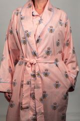 The Greenbrier Luxe Pima Cotton Shawl Collar Robe- Pink Queen Bee Print