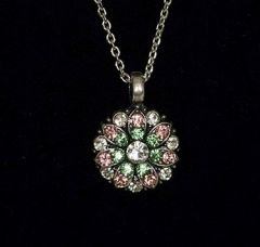 Greenbrier Exclusive Mariana Guardian Angel Crystal Necklace- green & pink