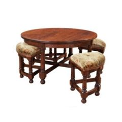 English Pub Round Cocktail Table with Nesting Stools (Quote)