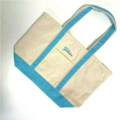 Greenbrier Logo Medium Canvas Boat Tote- White & Baby Blue