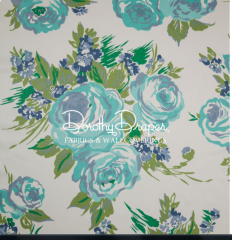 Dorothy Draper- Princess Grace Rose Wallpaper (Blue)